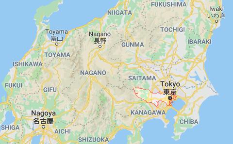 Vị trí thủ đô Tokyo (khoanh đỏ) trên bản đồ nước Nhật - Ảnh chụp màn hình
