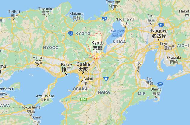 Vị trí cố đô Kyoto (khoanh đỏ) trên bản đồ. Tàu Shinkansen chạy từ Tokyo tới Kyoto hết khoảng 2 giờ 20 phút -Ảnh chụp màn hình
