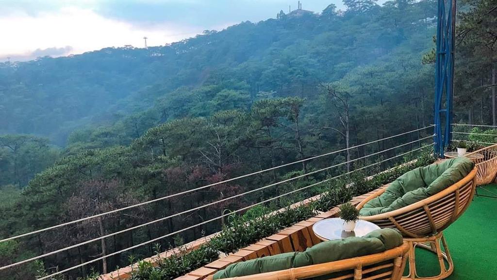 Ngồi ở đây, bạn có thể vừa nhâm nhi tách cà phê, vừa chiêm ngưỡng khung cảnh đồi thông hùng vĩ trong khoảnh khắc mỗi buổi sớm mai hay khi hoàng hôn lúc xế chiều.