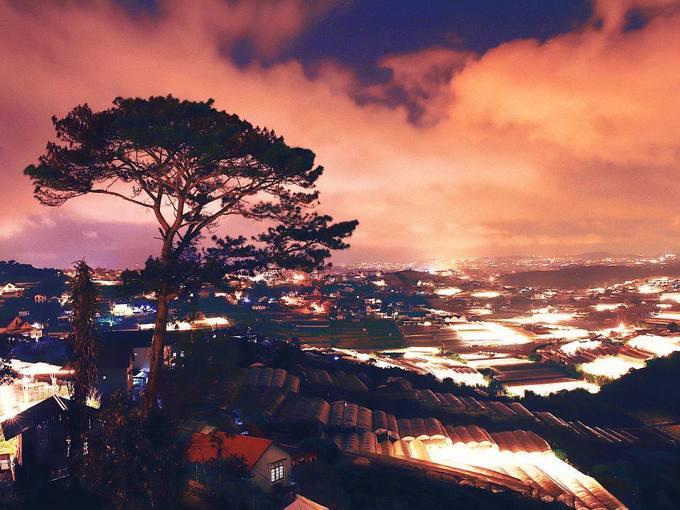 Panorama Cafe  Địa chỉ này thu hút du khách nhờ góc nhìn ấn tượng từ trên cao. Buổi tối là thời điểm đông khách nhất. Bởi khi mặt trời xuống núi cũng là lúc những nhà lồng bắt đầu lấp lánh ánh đèn vàng. Khung cảnh càng trở nên mờ ảo vào những ngày mù sương. Để đến đây, bạn có thể theo hướng đi Trại Mát - Cầu Đất. Quán nằm gần vòng xoay Trại Mát. Ảnh: Tý Nguyễn.