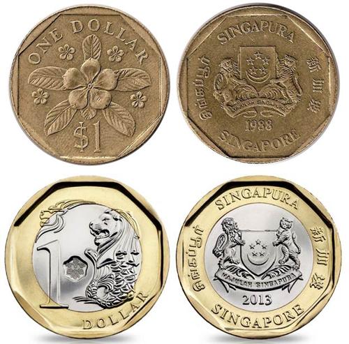 Đồng một đôla Singapore thay đổi thiết kế theo thời gian. Ảnh: Worldofcoins.