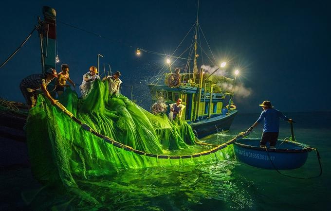 Trên mỗi chuyến tàu săn cá cơm gồm 10-13 ngư dân, mỗi người một việc. Vào ban ngày, khi phát hiện luồng cá cơm ở độ sâu khoảng 30-40 m, các ngư dân dùng lưới bủa vây bắt cá. Còn vào buổi tối, họ chong đèn pha dồn cá vào lưới (ảnh) và dùng các cây sào để xúc cá. Sáng sớm hôm sau, tàu cập bến với những sọt đầy ắp cá cơm ngần.