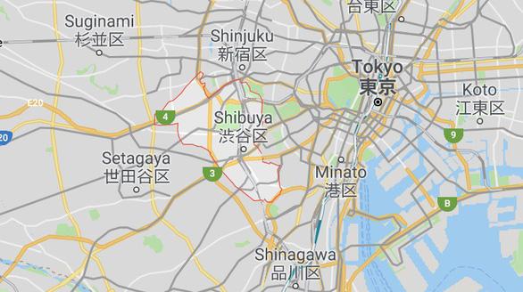 Shibuya (khoanh đỏ trên bản đồ) là một quận trung tâm ở thủ đô Tokyo, Nhật Bản, kinh doanh rất sầm uất, nhất là cho giới trẻ.
