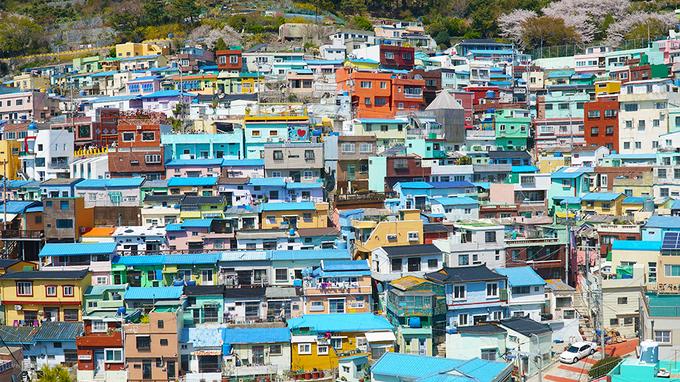 Làng văn hoá Gamcheon  Làng văn hoá Gamcheon ở Busan nổi tiếng với những căn nhà nhỏ xinh, đầy màu sắc khiến du khách liên tưởng mình đang ở Santorini, Hy Lạp. Nơi đây từng là khu ổ chuột và thay đổi diện mạo từ năm 2009 trong một chương trình cải tạo của chính phủ Hàn Quốc.