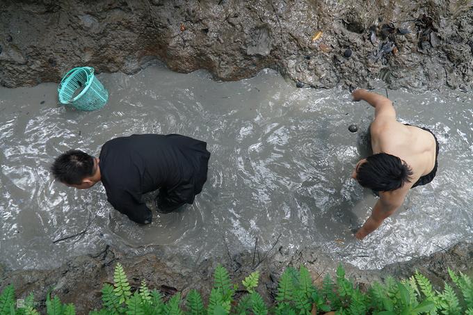 Trải nghiệm lội mương bắt cá phổ biến tại các tỉnh miền Tây. Du khách sẽ được hoá thân thành nông dân thứ thiệt khi mặc bộ bà ba, quấn khăn rằn. Xắn tay áo và gấu quần, bạn bắt đầu lún chân trong bùn, tay mò dưới lòng mương tìm những con cá trơn tuột đang cố lẩn mình. Nhiều khách rỉ tai nhau kinh nghiệm bắt cá là đi theo một chiều để lùa chúng.