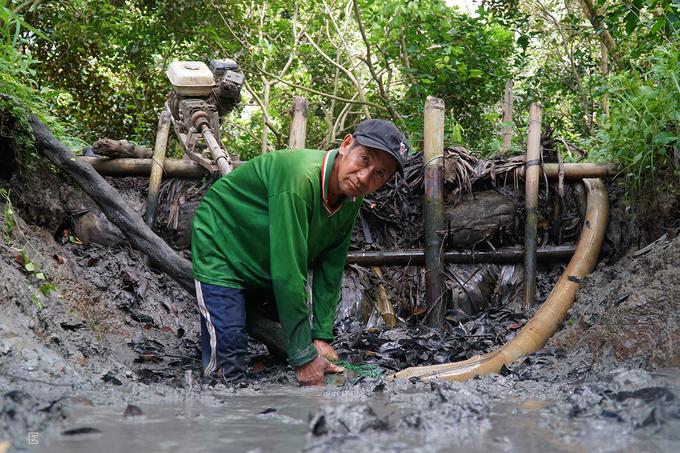 """Ông Chín, chủ một vườn trái cây ở xã Mỹ Khánh, huyện Phong Điền, Cần Thơ cho biết, đây là hoạt động được nhiều khách ưa thích. """"Chúng tôi xây dựng nhiều nhà vệ sinh để khách có thể tắm rửa sau khi vui chơi"""", chủ vườn nói."""
