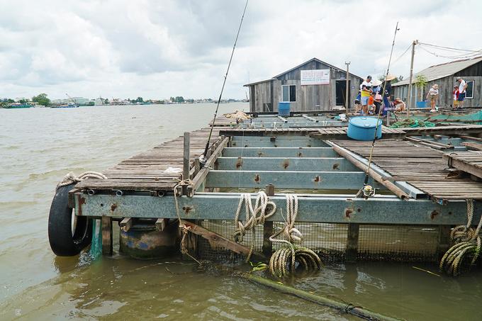 Bè được dựng giữa lòng sông, không dùng bê tông nhưng vẫn kiên cố. Lối đi dành cho du khách lót ván ép, hẹp. Các bè được chia làm nhiều khu vực và kích thước khác nhau. Mỗi khu vực nuôi một loại cá, bao quanh bằng vách ngăn hoặc lưới.