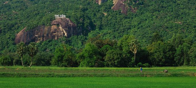 Đứng trên đỉnh đồi Tà Pạ, bạn còn có thể ngắm nhìn cánh đồng lúa của vùng Tri Tôn nép mình dưới tán cây thốt nốt, loài cây đặc trưng của vùng đất này. Nếu có thời gian, bạn có thể tìm đường đi xuống những cánh đồng trù phú.  Ảnh: Phong Vinh, Văn Thái