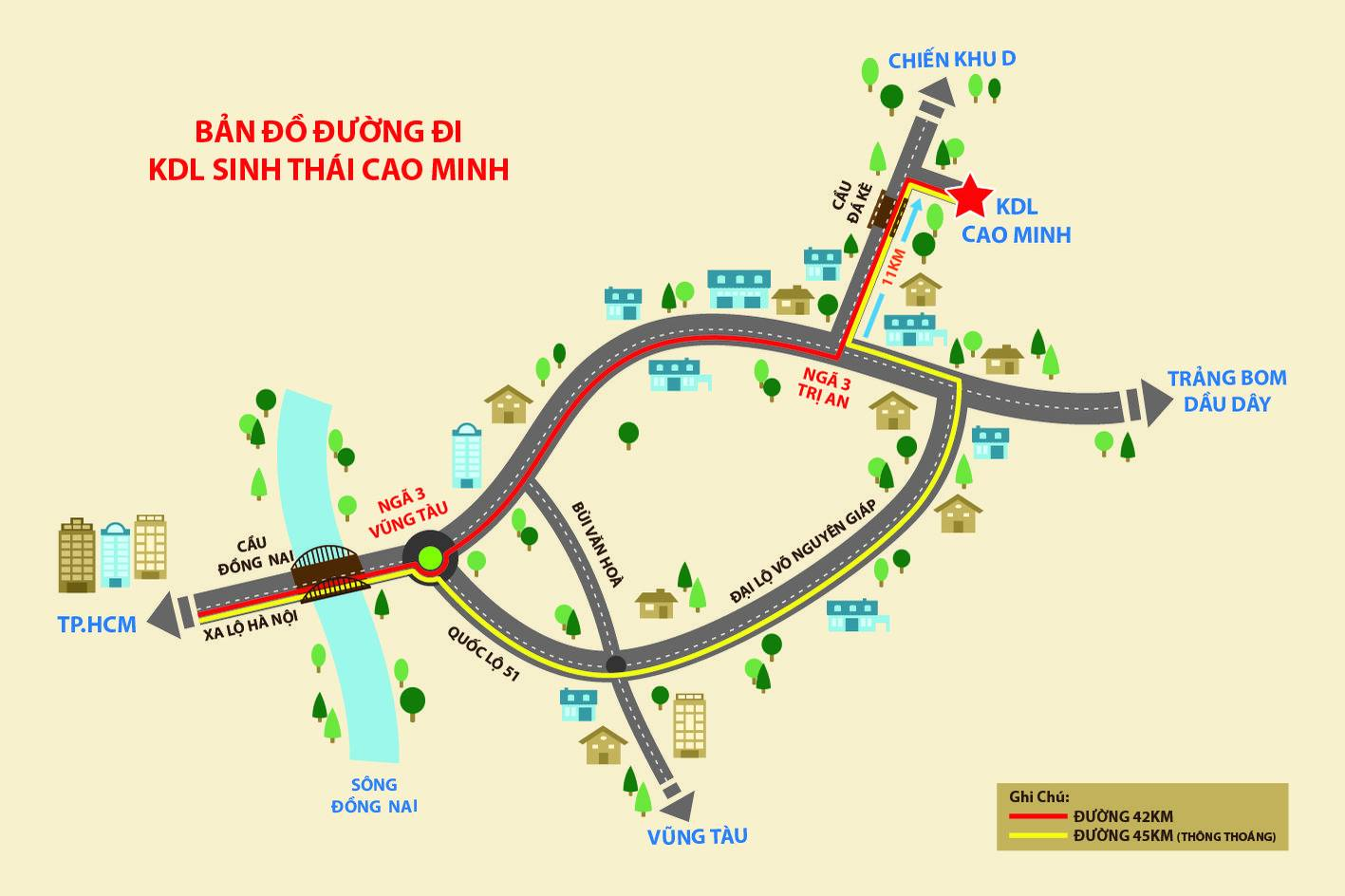 Bản đồ hướng dẫn di chuyển đến KDL Cao Minh