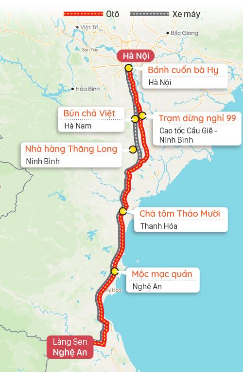 Điểm dừng chân gợi ý trên đường từ Hà Nội đi làng Sen, Nghệ An. Đồ họa: Tạ Lư.