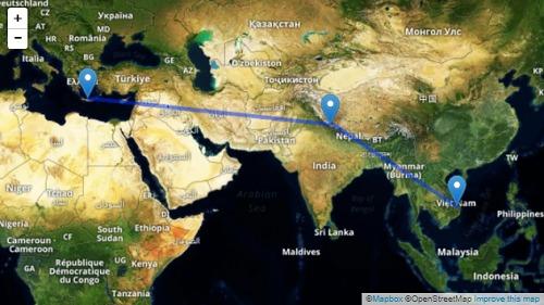 Bản đồ cho thấy khoảng cách địa lý từ phía đông Địa Trung Hải và Đông Nam Á, so với hồ Roopkund ở trung tâm. Ảnh: Mapbox.