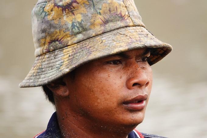 """Thanh niên người Khmer - một """"tài xế"""" khỏe khoắn, thấm đẫm mồ hôi khi tham gia điều khiển các chú bò."""