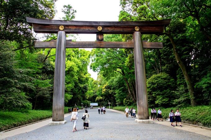 Đền Meiji Jingu, Tokyo  Ngôi đền được xây vào năm 1920 tại Shibuya, thủ đô Tokyo. Đây là nơi thờ Thiên Hoàng Minh Trị Meiji Tenno và hoàng thái hậu Shoken Kotaigo. Điểm đặc biệt của đền là cánh cổng Torii, làm từ 2 gỗ bách nguyên khối có tuổi đời 1.700 năm. Khi đi vào hoặc trở ra khỏi cổng, khách tham quan phải cúi đầu một lần. Ảnh: Savy Japan.