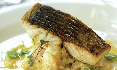 Cá chẽm tươi của Australia có thể được nướng, chiên hay làm khô da. Ngoài ra, bạn cũng có thể thưởng thức khoai tây và cá tươi chiên. Bang Queensland là nơi có món cá tươi, ngon nhất trên cả nước. Ảnh: Golf Kitchen.