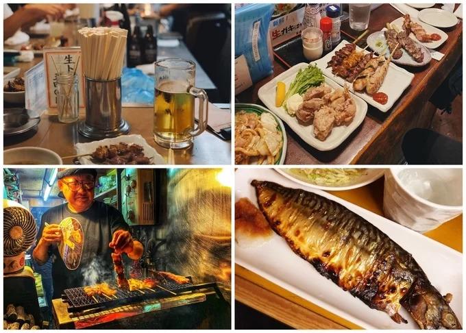 """Omoide Yokocho không có các nhà hàng hạng sang hay quán ăn lâu đời hàng trăm năm. Tuy nhiên nhiều người nhận xét, đây là một trong những địa điểm bán xiên nướng """"đỉnh"""" nhất Tokyo. Và bạn phải thưởng thức kèm ly bia mát lạnh thì mới đúng điệu. Giá đồ ăn khoảng 400 yên/xiên (khoảng 90.000 đồng) tùy quán."""
