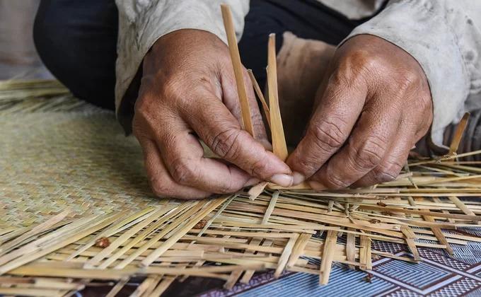 Cỏ bàng đã ép dẹt trở thành nguyên liệu để người dân địa phương tạo ra các loại đồ dùng. Theo ông Lý Hoàng Bảo, phụ trách thủ công mỹ nghệ Khu bảo tồn loài - sinh cảnh Phú Mỹ, tổng sản lượng mặt hàng người dân làm ra khoảng 200.000 cái, thu về vài tỷ đồng mỗi năm.