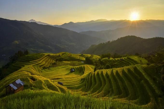 """Sau khi vượt qua đèo, cảm giác mệt mỏi tan biến tất cả khi trước mắt hiện ra là những """"đường cong lúa"""" mềm mại. Lúa ở Bản Phùng chín khá muộn so với những nơi khác, khoảng từ đầu đến giữa tháng 10."""