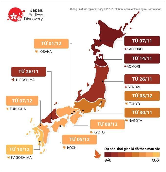 Dự báo mùa lá vàng, đỏ ở Nhật Bản năm 2019. Ảnh: JNTO.