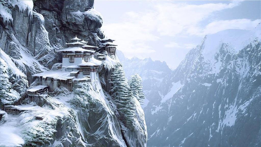 Mùa đông ở Bhutan thường kéo dài từ tháng 12 đến tháng 2 năm sau. Vào thời điểm này, quốc gia trở nên yên bình và vắng lặng hơn thường ngày bởi đây du lịch thấp điểm. Bhutan những ngày chớm đông với khung cảnh tuyết trắng phủ khắp nơi tựa như chốn tiên cảnh càng làm tăng sức hút cho cả miền sơn cước. Ảnh: AndBeyond.