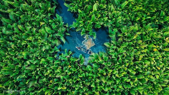 """Người dân thả vó đánh cá trong rừng dừa. Theo các tài liệu lịch sử, với địa thế hiểm trở như """"đám lá tối trời"""" nên rừng dừa nước Tịnh Khê từng là nơi trú ẩn của các lực lượng vũ trang trong những năm kháng chiến, nhằm chống lại các cuộc càn quét, đánh phá vào xã Tịnh Khê và vùng lân cận."""