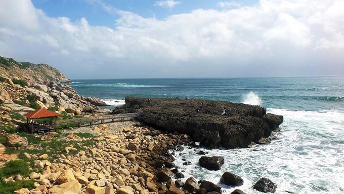 Nơi đây thực tế là một rặng san hô cổ có tuổi đời hàng triệu năm, đã vôi hóa tạo thành bãi đá cao trên mặt biển ven Vườn quốc gia Núi Chúa. Ảnh: Nguyễn Thanh Tuấn.