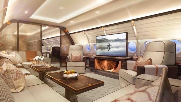 Nội thất bên trong đều được tuyển chọn với chất lượng cao. Ghế sofa làm bằng da cao cấp và giường bằng chất liệu gỗ gụ đắt đỏ. Vòi sen trong phòng tắm cũng được cho là loại lớn nhất từng có trên máy bay Airbus.