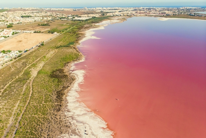 Mỗi năm, Las Salinas de Torrevieja (Tây Ban Nha) luôn hút du khách nhờ sắc hồng tự nhiên của nó. Màu hồng của nước biển xuất phát từ loài sinh vật biển chứa một hóa chất có màu đỏ gọi là beta carotene. Theo thời gian, vùng biển này dần thay đổi màu sắc, đôi khi bãi cát cũng được nhuộm hồng tươi thắm, ấn tượng, tựa như cảnh trong truyện cổ tích.
