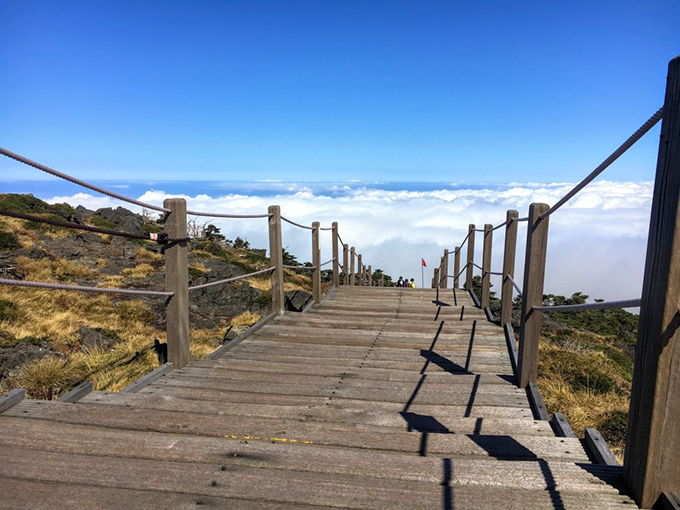 """Con đường gỗ trên đỉnh núi chìm trong mây trắng là một trong những địa điểm check in nổi tiếng nhất trên đảo Jeju. Từ Việt Nam, du khách có thể """"hạ cánh nơi anh"""" tới đảo Jeju bằng cách transit ở Seoul. Đặc biệt, khách quốc tế tới đây không cần xin visa.  Ảnh: Erikastravelventures"""