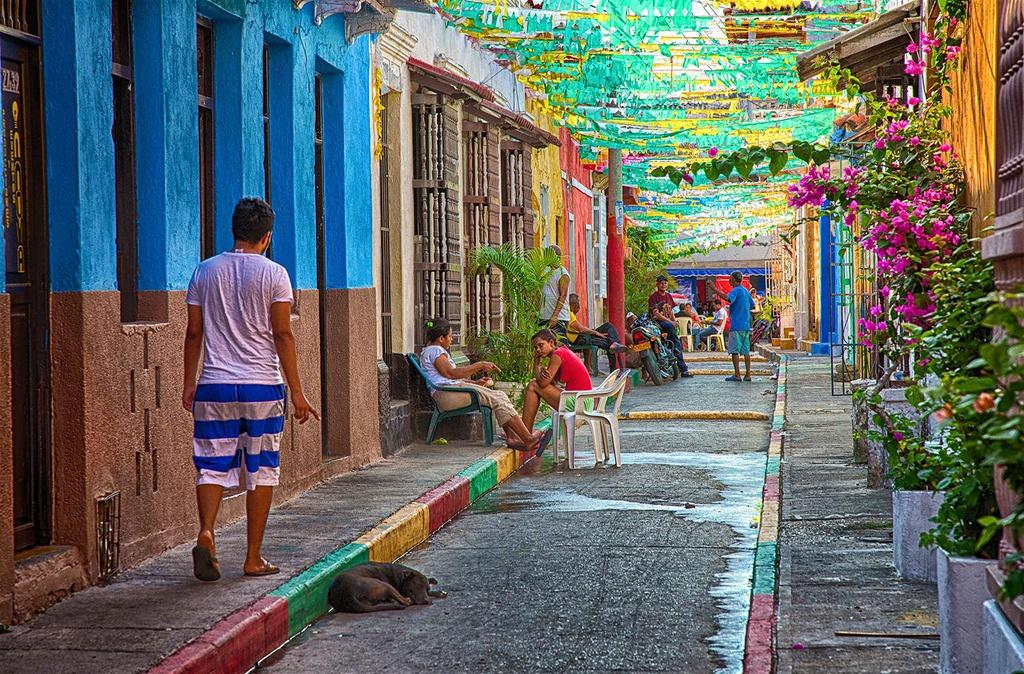 Cartagena (Colombia) đặc trưng bởi những ngôi nhà sặc sỡ, ô cửa sổ nhiều màu sắc và ban công trồng hoa lãng mạn. Những con hẻm uốn lượn qua các quảng trường, nhà thờ phủ đầy cây thường xuân và hoa giấy làm du khách say đắm.