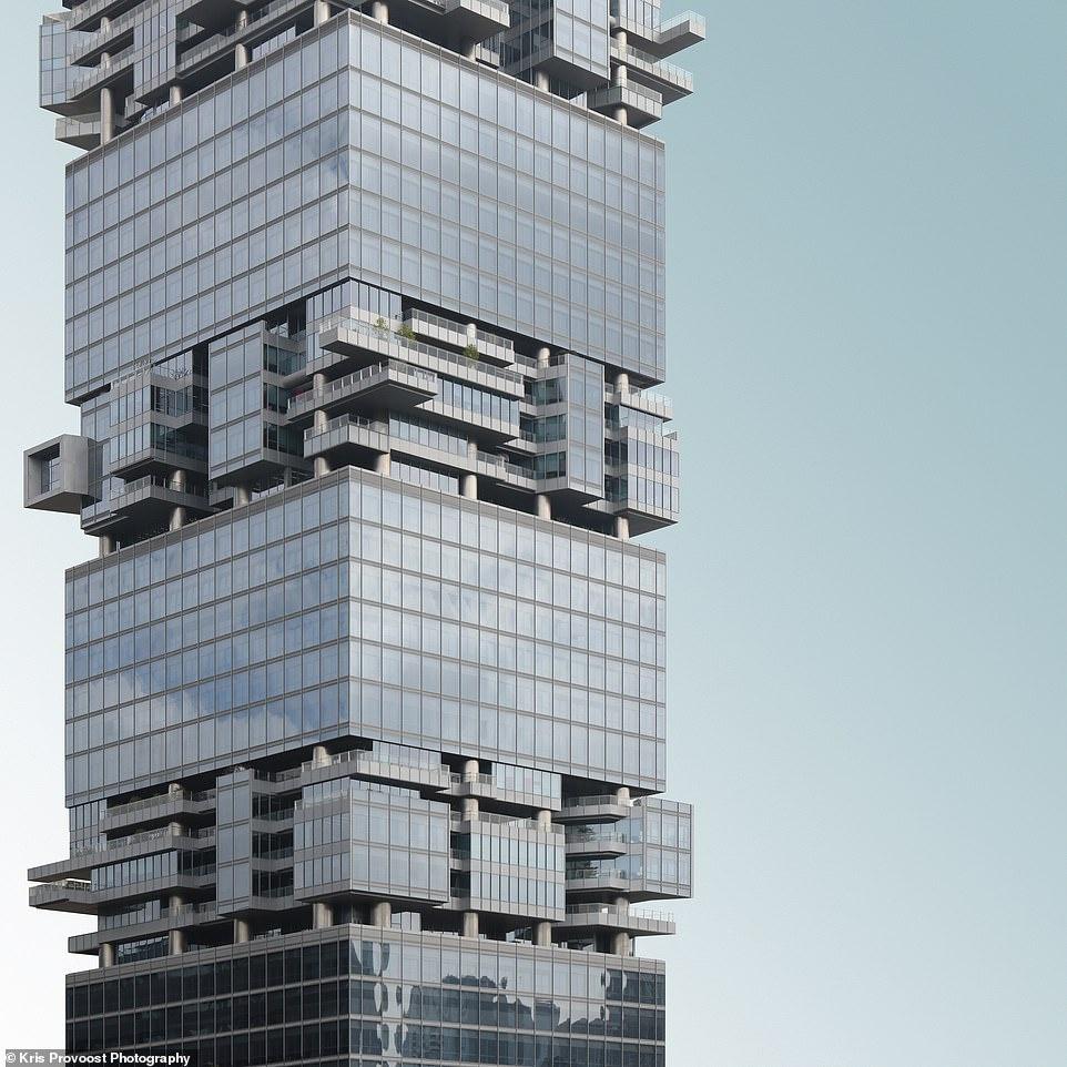 """Năm 2018, Hans Hollein và Christoph Monschein đã thiết kế tháp SBF, tòa nhà văn phòng theo phong cách Jenga. Nằm ở quận Phúc Điền của Thâm Quyến, tháp SBF được mô tả như một """"khu phố trên bầu trời""""."""