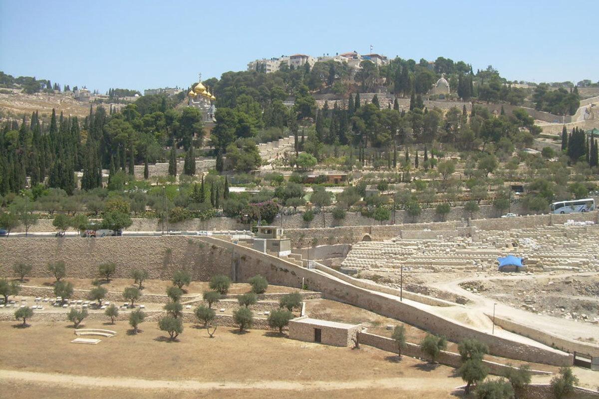 Nghĩa trang lâu đời nhất thế giới  Núi Olive là nghĩa trang được sử dụng lâu đời nhất trên thế giới, từ khoảng năm 1500 Công Nguyên tới nay. Một số nhà lãnh đạo, nhà tiên tri và giáo sĩ Do Thái vĩ đại nhất đã được chôn cất trên đỉnh núi Olive. Đây là nghĩa trang lớn nhất và quan trọng nhất của người Do Thái trên thế giới, với hơn 150.000 ngôi mộ Do Thái. Ảnh: Wikimedia Commons/Nemo bis.