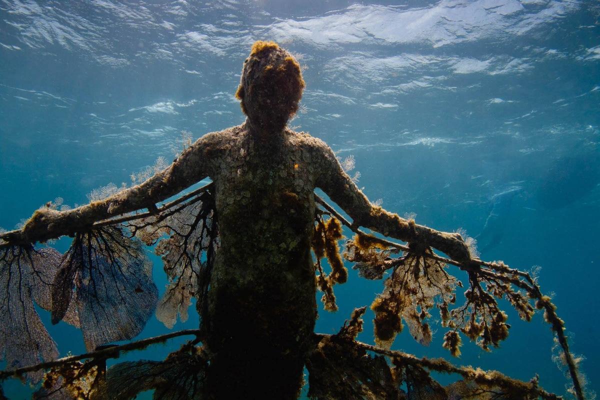 Tượng Phục sinh được tạo nên từ những mảnh san hô vỡ vụn, trong cơn bão ở Cancun. Tác phẩm như một lời nhắc về những tổn thương của sinh vật biển và tượng trưng cho hi vọng về sự sống mới. Ảnh: Aquaworld.